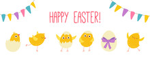 Easter Eggs Chicks. Cartoon Vector Hand Drawn Eps 10 Illustration Isolated On Dark Background In A Flat Style.