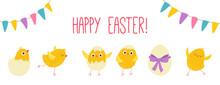 Easter Eggs Chicks. Cartoon Ve...