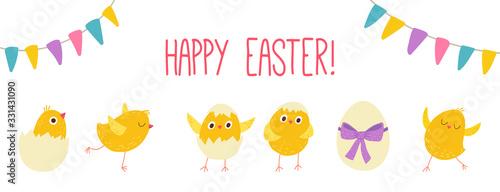 Stampa su Tela Easter eggs chicks