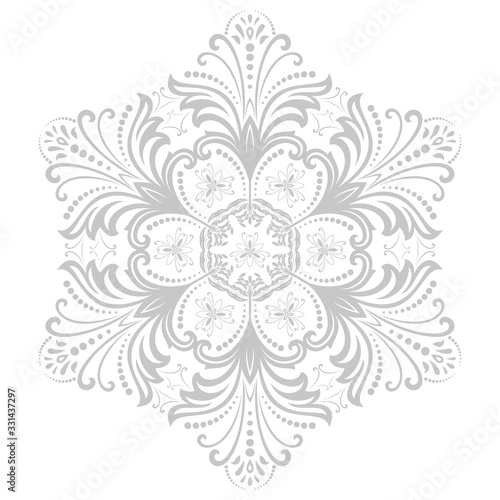 Damask vector floral pattern with arabesque and oriental elements. Abstract traditional gray ornament
