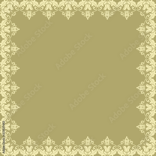 Oriental vector frame with damask, arabesque and floral elements. Abstract golden ornament