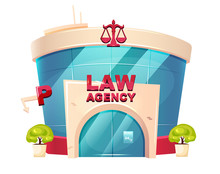 Law Agency Cartoon Vector Illustration. Notary Glass Building Flat Color Object. Legal Services Department Exterior. Prosecution Court Entrance. Modern Storefront Isolated On White Background
