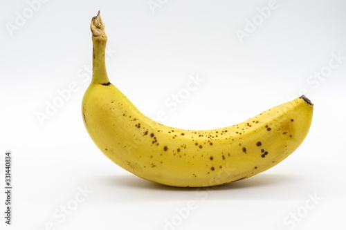 Closeup shot of a banana on a white background Fototapeta