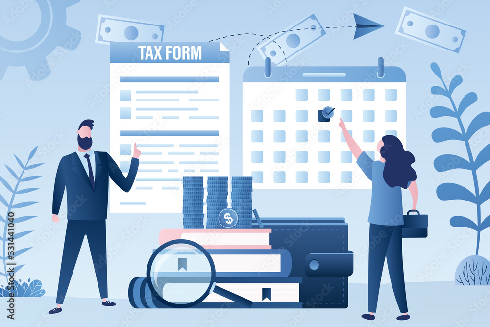 Fototapeta Tax time concept. Businesspeople with tax form and calendar.