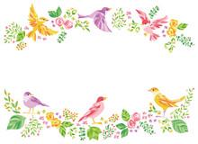 花 小鳥 フレーム