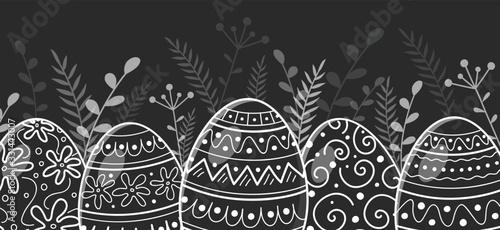Obraz Beautiful Easter eggs - decoration. Vector - fototapety do salonu