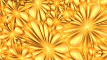 Abstract Gold Flowers Wall Pat...