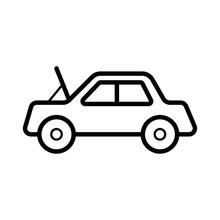 Broken Car Glyph Icon Vector