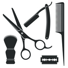 Barber Tools Graphic Icon Set. Scissors, Straight Razor, Comb, Shaving Brush, Blade Signs Isolated On White Background. Barbershop Symbols. Vector Illustration