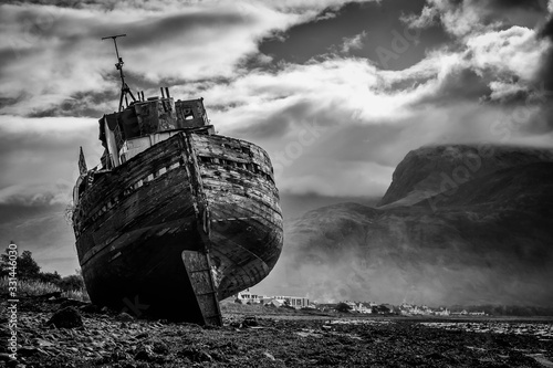 Corpach shipwreck at Loch Linnhe Canvas Print