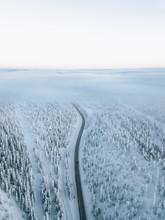 Verschneite Straße Umrundet Von Verschneiten Bäumen Endet In Tiefer Wolke Nach Sonnenuntergang Mit Pinkem Himmel Am Polarkreis.