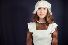 Girl In Victorian Maid Costume...