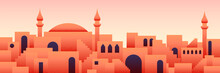Arabic City Panorama In Orange Desert Color With Mosque Silhouettes