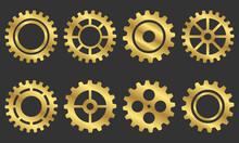 Golden Isolated Gears Vector S...