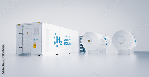 Renewable energy storage - hydrogen gas to clean electricity facility situated on white background. 3d rendering.