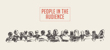 People Sitting Audience Lecture Hall Vector Sketch