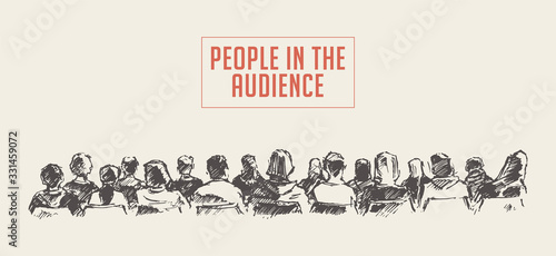 Fotografering People sitting audience Lecture hall vector sketch