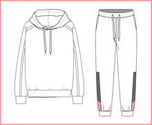 Sweatshirt, Sweatpants Fashion Flat Sketches. Apparel Template