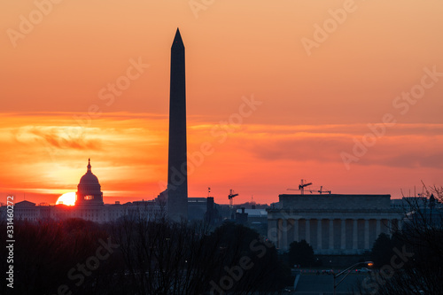 Sun Rises Behind the US Capitol on a Spring Morning