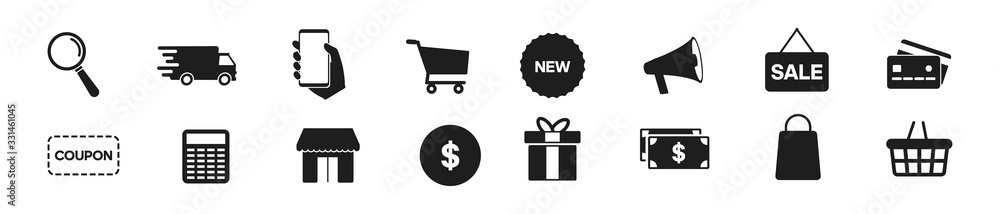 Fototapeta Online shopping icons set, payment elements vector illustration