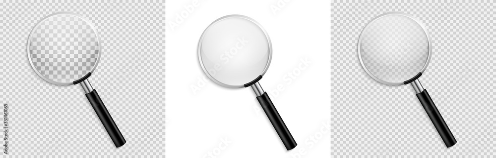 Fototapeta Realistic Magnifying glass vector isolated vector illustration on transparent background