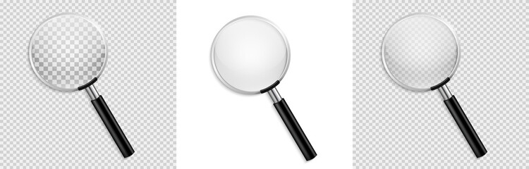 Realistic Magnifying glass vector isolated vector illustration on transparent background