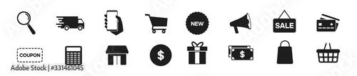 Photo Online shopping icons set, payment elements vector illustration