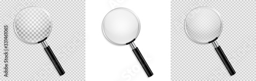 Fotografía Realistic Magnifying glass vector isolated vector illustration on transparent ba