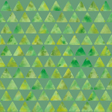 Watercolor Olive-green Triangle Background. Seamless Pattern. Watercolor Stock Illustration. Patchwork Style Texture. Design For Backgrounds, Wallpapers, Textile, Covers And Packaging.
