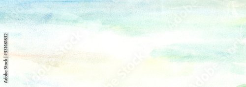 Photo Hand drawn illustration light sky blue and light yellow watercolor background