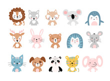 Cute Animals, A Large Set Of Simple Colorful Cartoon Characters For Children. Wild, Tropical, Forest Animals. Vector Illustration Isolated On A White Background