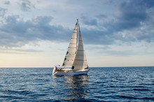 Close-up Sailboat Sailing Unde...