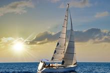 Close-up Sailboat Sailing Unde...