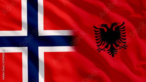 Waving Norway and Albania Flags Canvas Print