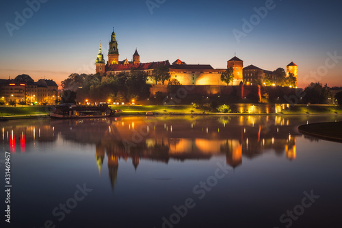 Fototapeta Panorama of Cracow, Poland, with royal Wawel castle, cathedral. obraz