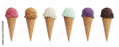 Valokuvatapetti Various flavors of ice cream scoops in waffle cones isolated on white background