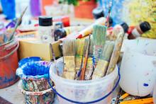 Brushes For Oil Painting In Bucket. Art Studio.
