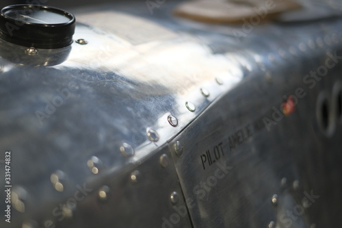 Photo tank with riveted and hammered sheet metal on vintage custom motorcycles