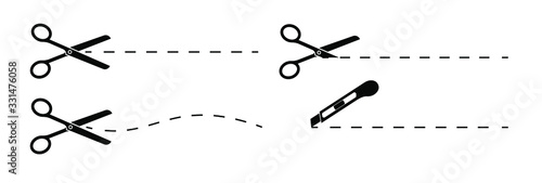 Canvas Print Set of scissors and stationery knife with cut lines