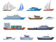 Sailboat Ships. Sea Transportation Boats, Cargo Ship, Yacht, Sailing Boat, Speed Boat And Ocean Cruise Liner, Sailboats Isolated Vector Icons Set. Sailboat And Ship, Vessel And Cruise Illustration