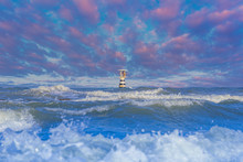Ocean Lighthouse,Ocean Waves A...