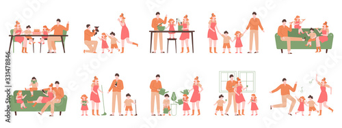 Fototapeta Parents and children at home. Family indoor activity, happy dad, mom and kids playing, cooking, dancing. Happy family vector illustration set. Parent and family activity at home obraz