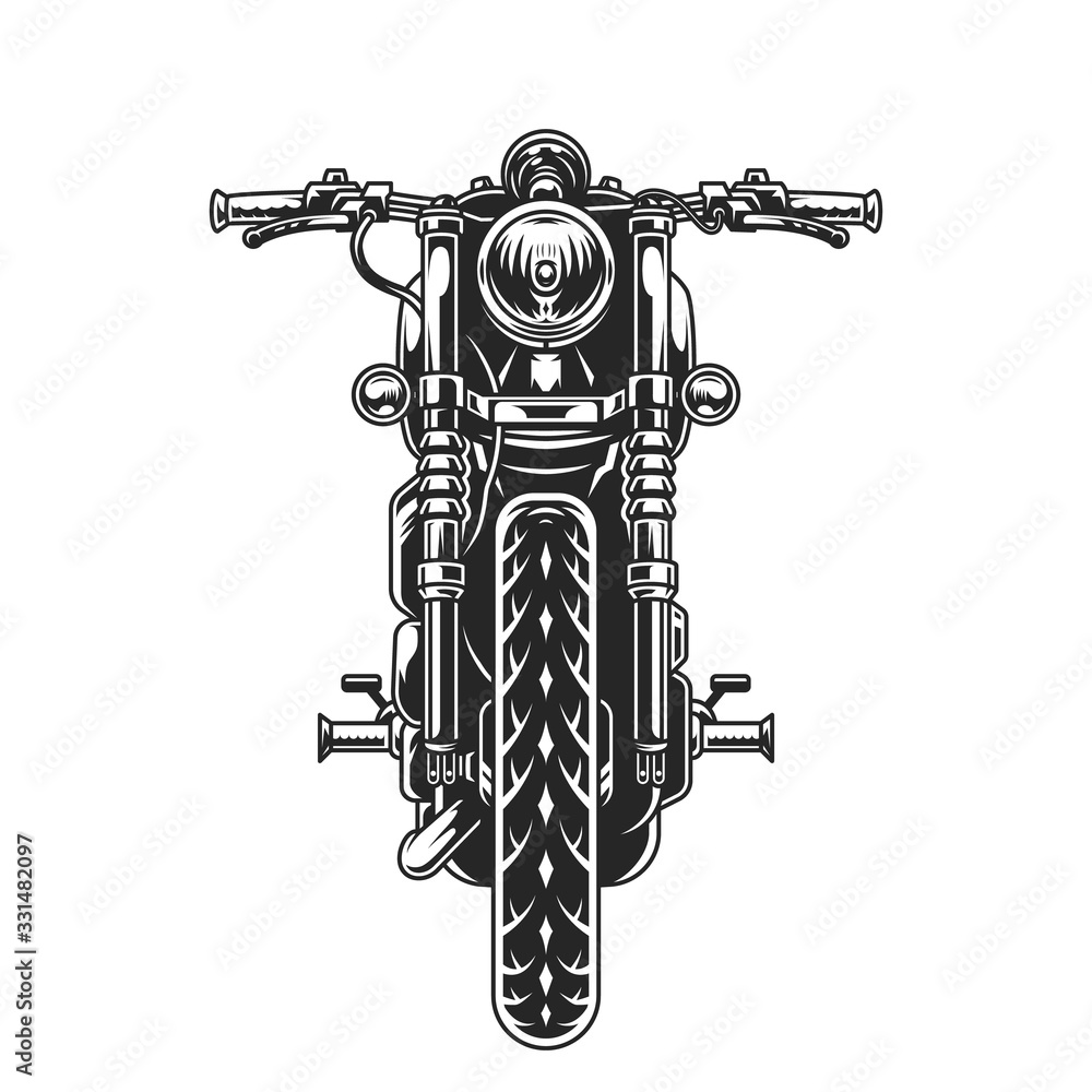 Fototapeta Classic motorcycle front view concept