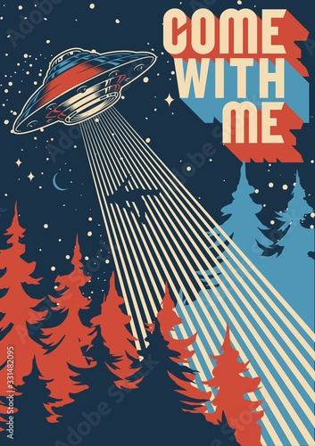 UFO abducts man colorful poster Wallpaper Mural