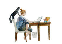 Young Woman Working From Home ...