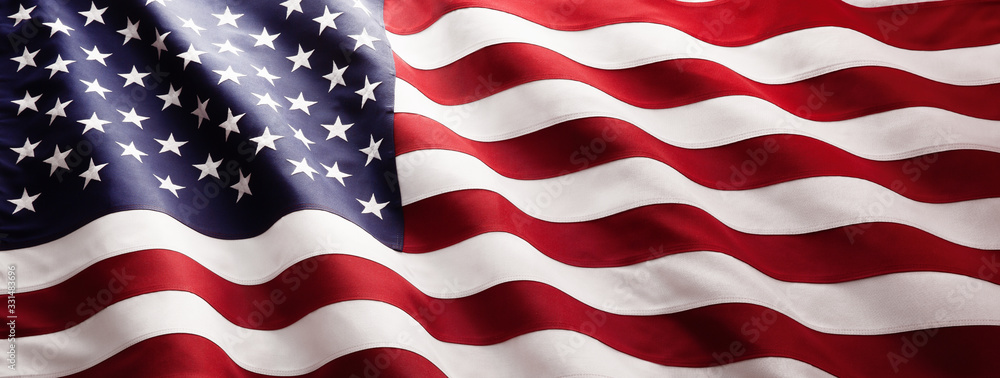 Fototapeta American Flag Wave Close Up