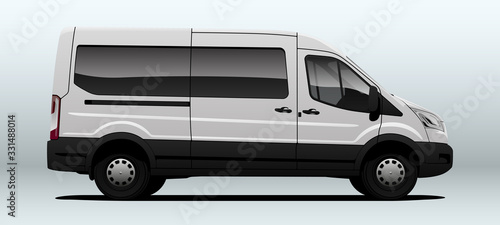 White van for transportation in vector. Canvas Print