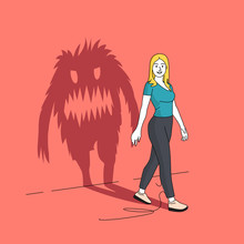 The Monster Inside You. A Seemingly Happy Women Casting A Long Shadow In The Shape Of A Monster. People Vector Illustration.