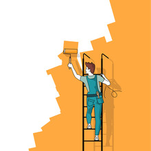 A Man On A Ladder Painting A Wall A Different Colour. People Concept Vector Illustration.