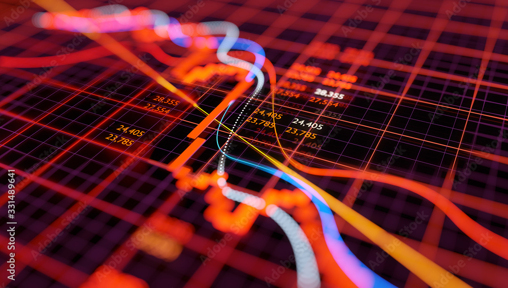 Fototapeta Stock market chart showing falling equity prices after a sudden crash. Bear market 3D illustration.